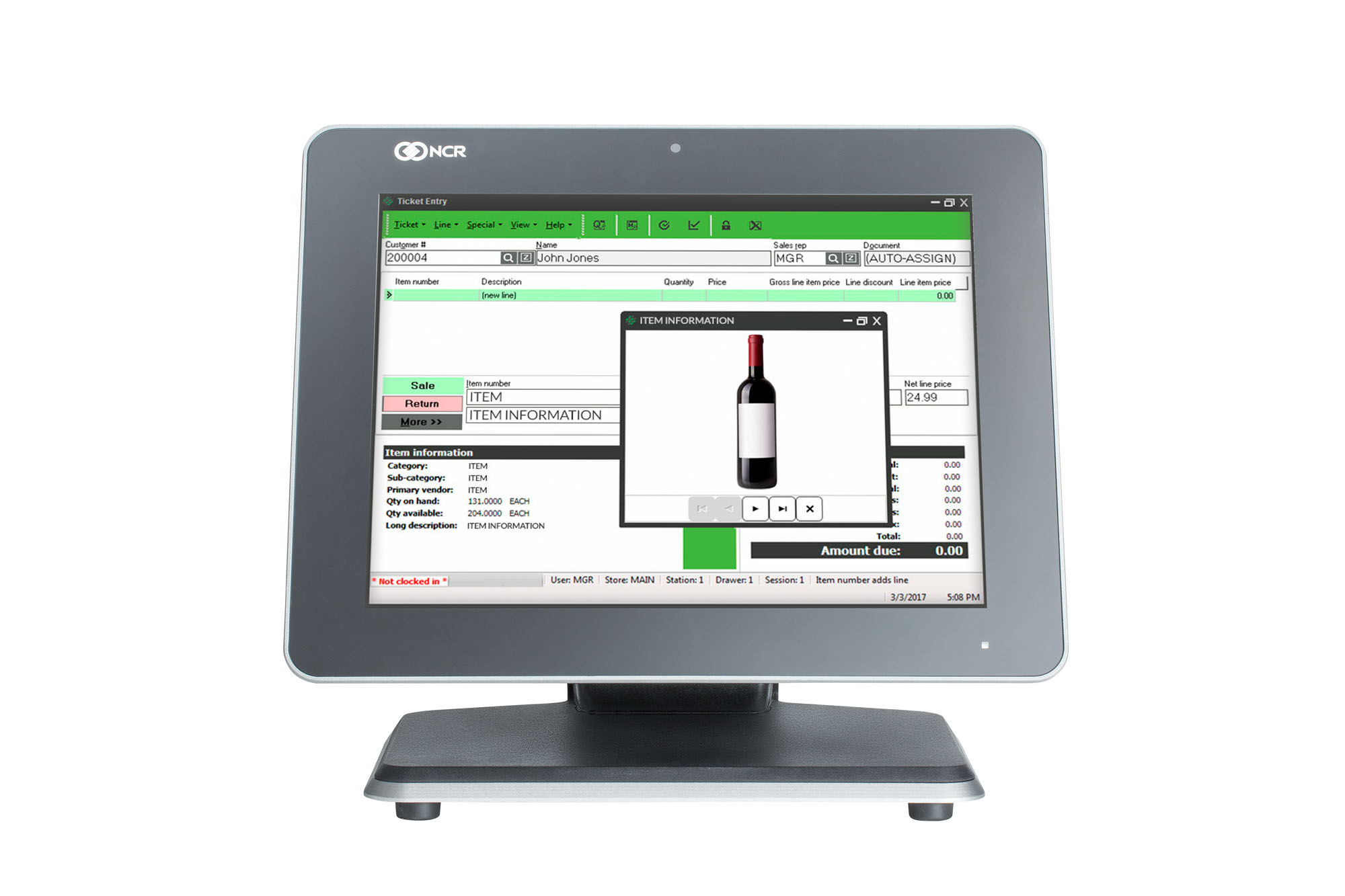 Rapid Bev POS - NCR Counterpoint - Monitor Image